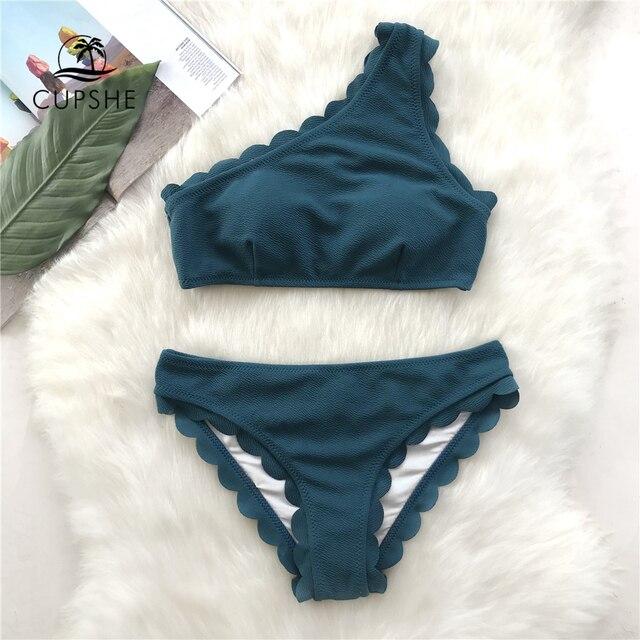 Cupshe sólido cerceta tank bikini define feminino borda ondulada de um ombro simples banho 2020 verão sexy menina praia magro maiôs