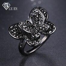 LXOEN винтажные кольца в форме бабочки в стиле панк для женщин с черным кубическим цирконием кольцо для лучших друзей подарки вечерние Anel Preto