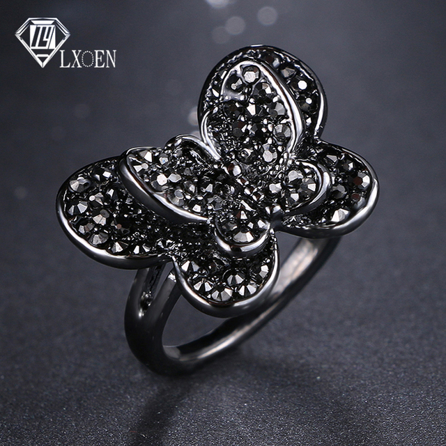 LXOEN Vintage Punk  Butterfly Shape Rings For Women with Black Cubic Zirconia Ring For Best Friend Gifts Party Anel Preto