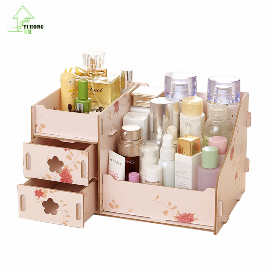 YIHONG Wooden Storage Box Jewelry Container Makeup Organizer Case Handmade DIY Assembly Cosmetic Organizer Wood Box For Office