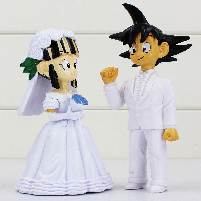 2pcs/set Two size Japan Anime Dragon Ball Z Son Goku ChiChi Wedding PVC Action Figure Toys Dragonball Z Collectible Model Dolls