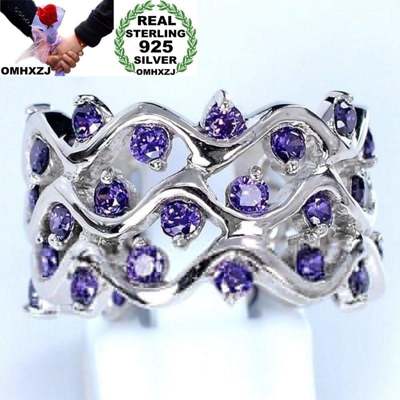OMHXZJ Wholesale European Fashion Woman Girl Party Wedding Gift Silver Purple Wave Amethyst 925 Sterling Silver Ring RR16