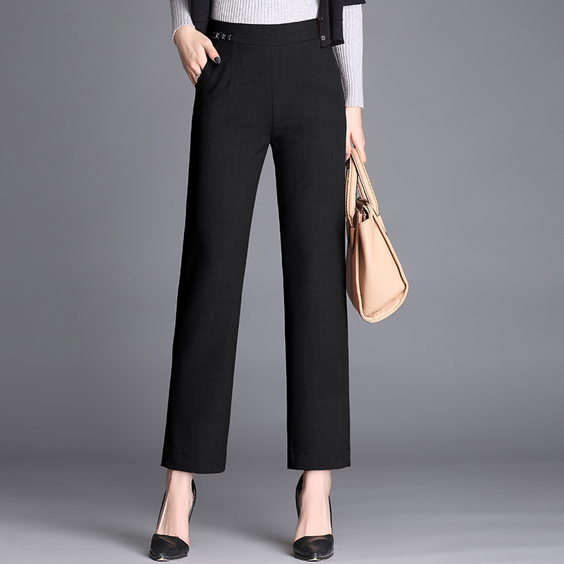 New Spring Autumn Full Length High Waist Pants Women Loose Casual Straight Elastic Elastic Waist Wide Leg Pants Plus size 4XL