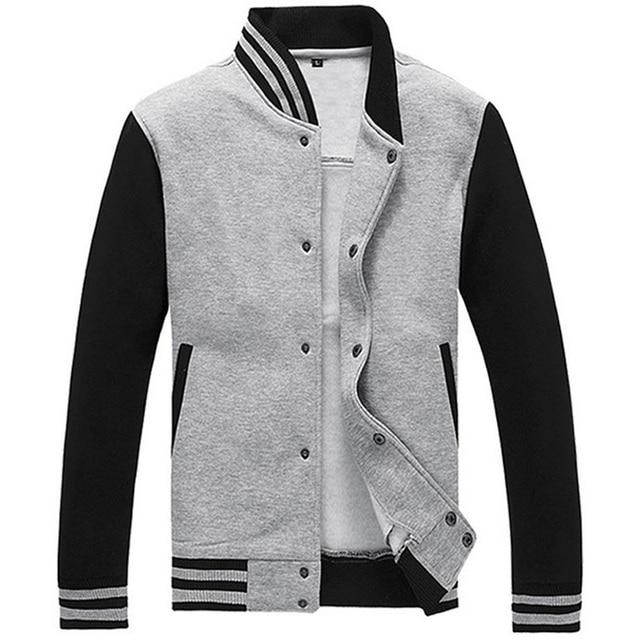 Бейсбол Куртка Мужчины Весте Homme Бренд Slim Fit Колледж Varsity Куртка Мужская Повседневная Толстовка Спортивная Бомбардировщик Куртки Серый XXXL