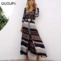 DUOUPA 2019 new Bohemian printing long dress women maxi long dress floral print retro hippie chic brand clothing boho dress