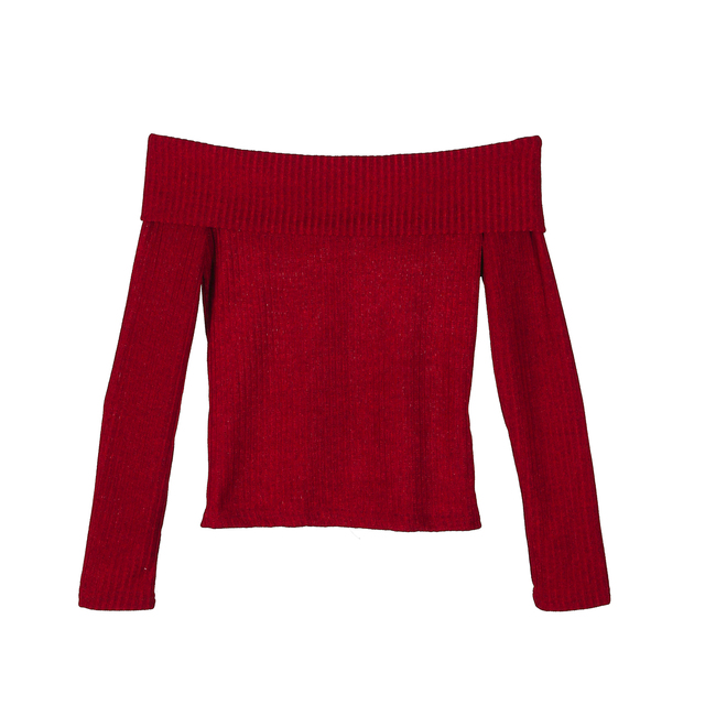 42ca147367abd0 Womens T Shirt Off Shoulder Baggy Long Sleeve Solid Tops Sexy Ladies Casual  Slim Knitted Pullover Jumper Short Top
