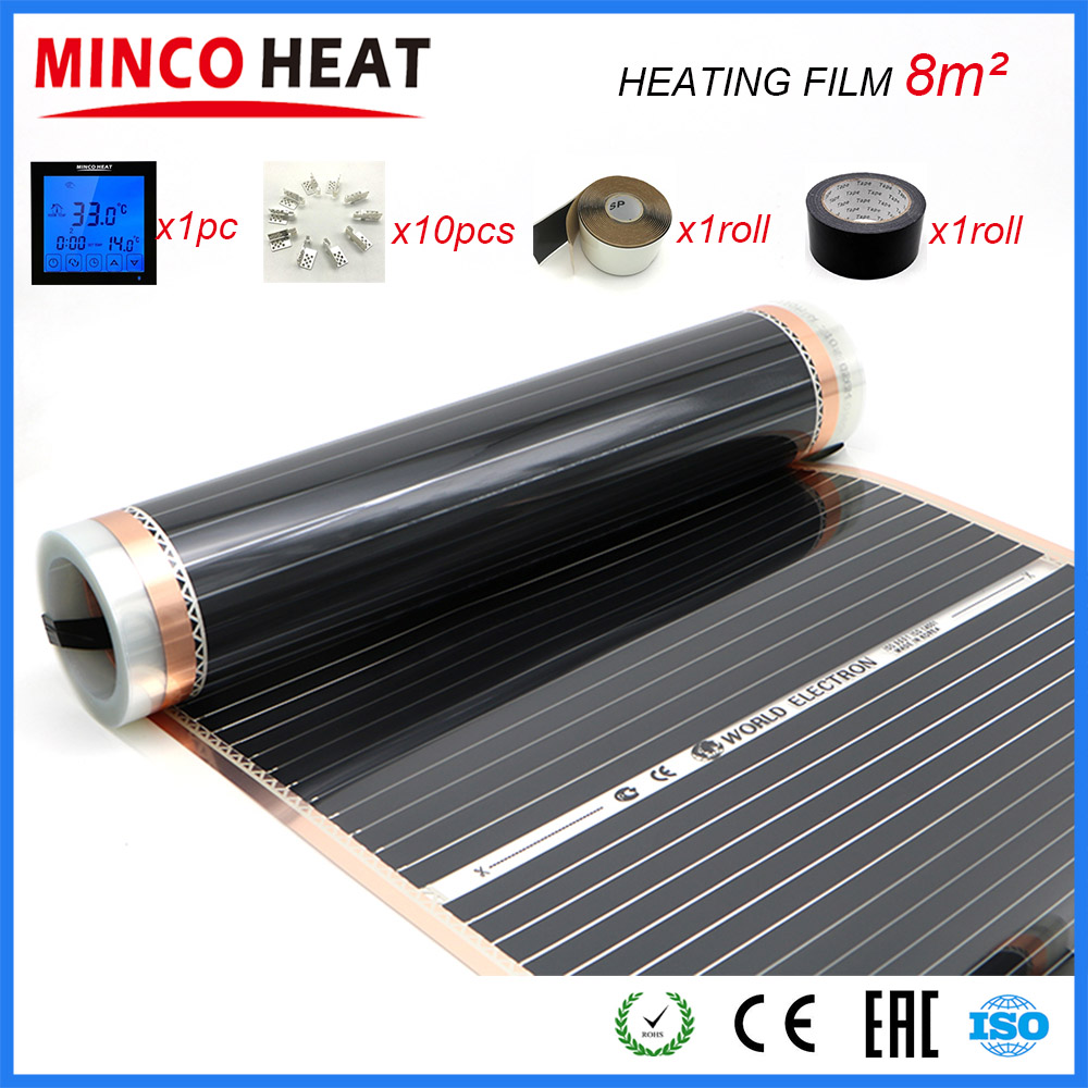8M2 AC220V Infrared Warm Floor Room Heater Heating Film with Thermosat