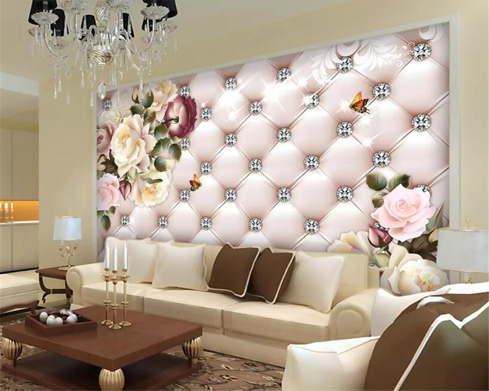 beibehang Custom Wallpaper Vintage flower pattern diamond soft pack TV background wall wall papers home decor carta da parati in Wallpapers from Home Improvement