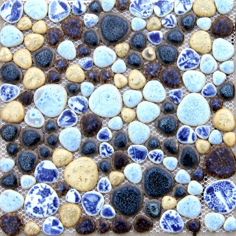 fashion irregular pebble porcelain mosaic tile kitchen backsplash wallpaper bathroom swimming pool wall tiles shower wholesale