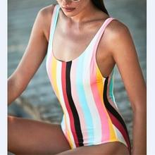 Colorful Striped Bathing Suit Women 2018 Summer One Piece Swimsuit for Female Swimwear Body Suits Sexy Monokini Beachwear Mujer