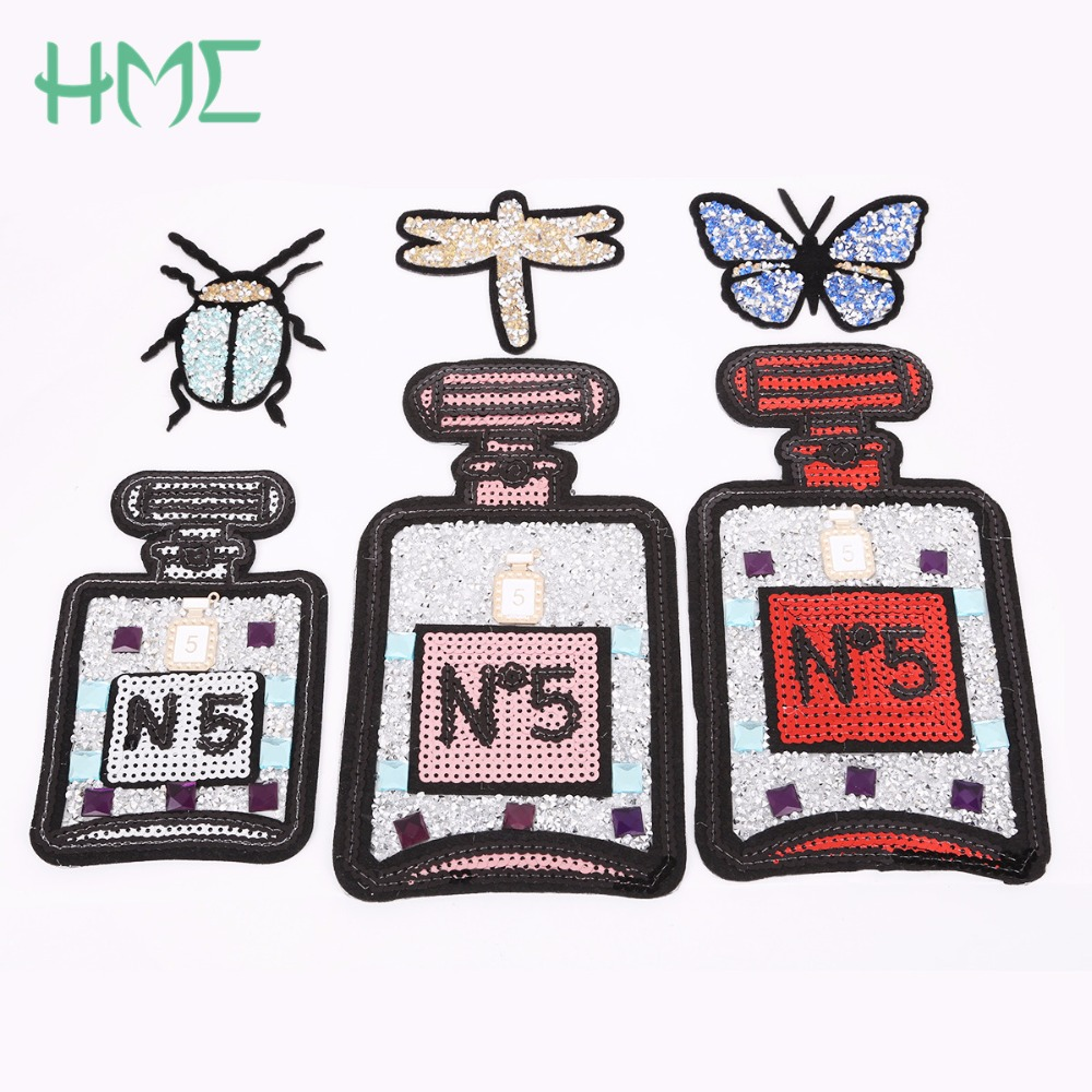 New ! Diamante Patches 1Pcs Perfume Bottle For Men Women Clothes Iron-on Embroidered Patch Motif Applique Sticker DIY Making