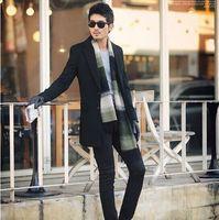 Empfindlicher Entwurf Mann Starke Warme Mäntel Plus Größe M-3XL Gute Qualität Im Freien Männer Winter Mode Schwarz Lange Trenchcoat