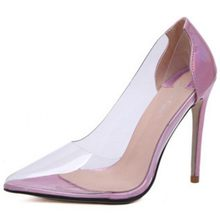 Shoes women 2018 autumn and winter new fashion sexy stiletto transparent single shoes female super high heel pointed shoes(China)