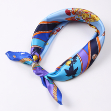Luna&Dolphin Women Square Scarf 50*50cm Real Silk Scarves Mulberry Silk Horse Blue Soft Neckchief  Professional Silk Scarves