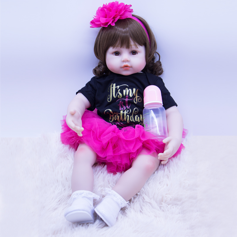 beautiful big size reborn doll 60 cm silicone baby soft wig Realistic girl and real clothes chidren Xmas bebes