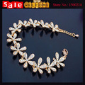 Flower Link String Full Rhinestone Golden Plated CZ Diamond Snowflake Chain Wrist Bracelet Bangle for Women Wedding Jewelry