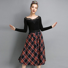 New Fashion Women Skirt Cotton Knee Length Coat Ladies Ball Gown High Waist Tartan Design Clothing