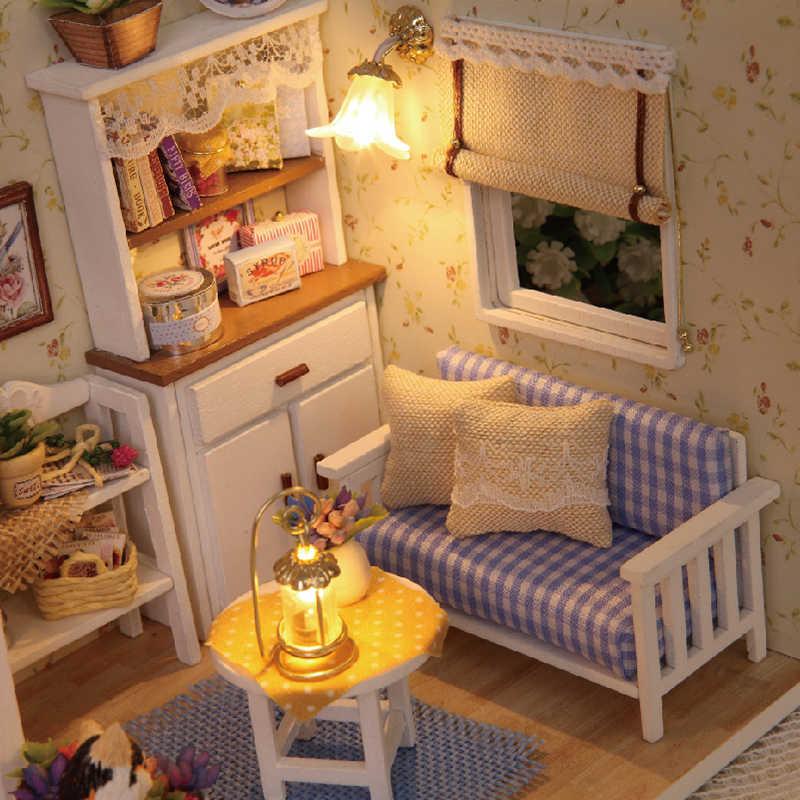 Montar diy casa de boneca brinquedo de madeira miniatura casas de bonecas em miniatura brinquedos com móveis led luzes presente aniversário h13