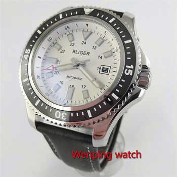 Bliger 44mm White/Black Sterile Dial Luminous Automatic Movement Date Men\'s Wrist Watch W2604