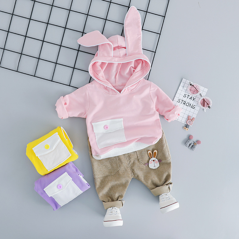 Child Woman Boy Clothes Units Spring Autumn Toddler Garments Fits Rabbit Ears Pocket Design Tops Pants Informal Youngsters Youngsters Costume Clothes Units, Low cost Clothes Units, Child Woman Boy...