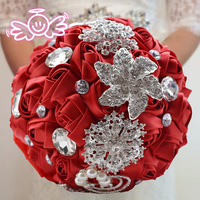 Hand Made Top quality beaded Brooch silk Flower bride Bridal wedding bouquet bridesmaid Rose pearl Artificial flower