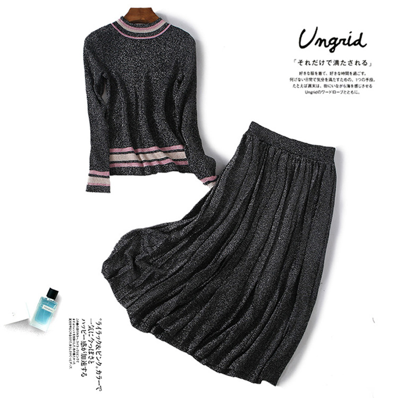 Russian Style Women Elegant Casual 2 Pieces Skirt Sets Knit Blouse Pleated Skirt Solid Color Stretchy