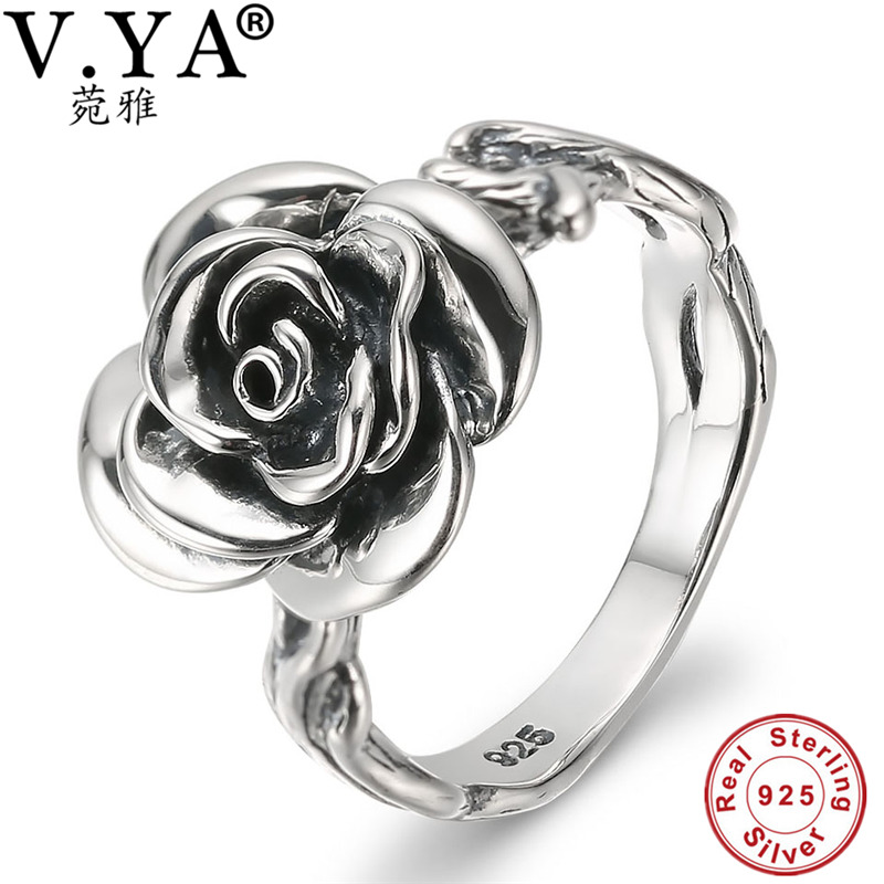 V.YA 925 Sterling Silver Rings Vintage Rose Flower Ring New Fashion 100% S925 Solid Silver Rings for Women Jewelry Best Gift