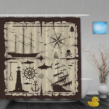 Pirate Sailboat Shower Curtain Anchor Compass Bathroom Shower Curtains Waterproof Polyester Fabric Bathroom Curtain Hooks(China)