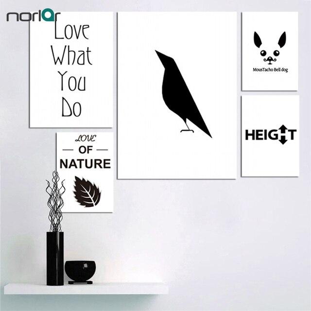 Wunderbar Schwarz Weiß Wand Bild Drucken Crow Hund Blatt Minimalistischen Wandkunst  Leinwand Poster Malerei Modernen Haus Schlafzimmer