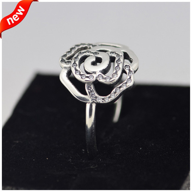 Fits European Brand Rose Silve Ring with CZ 100% 925 Sterling Silver Fashion Rings Jewelry for Women Wholesales FLR15049