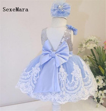 New Cute White Lace Blue Lining Baby Girls First Birthday Dress Ball Gown Girls Christmas Dress Wedding Party Gown with Bow