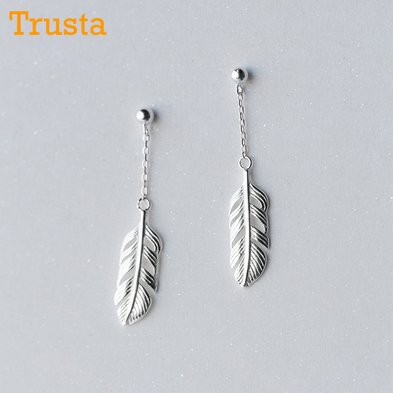 Feathers stud earrings Trusta Newest 100% 925 Sterling Silver Women's Jewelry Fashion Tiny Feather  Stud Earrings Gift For Girls Kids Lady DS203