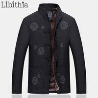 Linge Hommes Chinois Style Épais Vestes D'hiver Broderie Grenouille Manteaux Casual Mandarin Col Vêtements Pour Hommes Noir Vert Olive F036