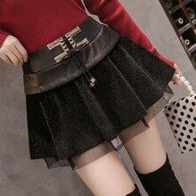 Осень и зима новая плиссированная юбка искусственная кожа противоскользящая юбка Женская высокая талия бедра шорты юбка