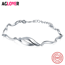 Solid 925 Sterling Silver Bracelets Female Simple Rotation Jewelry Girl Fashion Temperament Couple