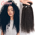 7A Peruano Virgem Cabelo Afro Kinky Curly Hair 3 pçs/lote Encaracolado Cabelo Humano tecer Cor Natural Crespo Encaracolado Tecer Cabelo Livre navio