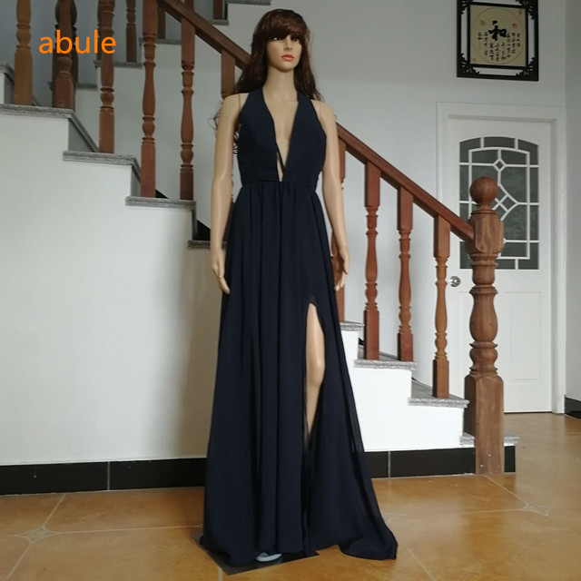 9410e306e812 abule long Evening Dresses Sexy depth v-neck Women sleeveless strapless  chiffon backless Formal Evening Gowns robe de soiree