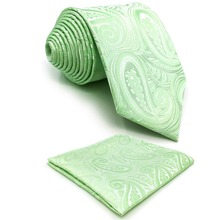 E6 Green Paisley Mens Ties Silk Necktie for Men Classic Extra Long Pocket Square Set