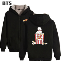 BTS Kpop 21 Thick Warm Women Hoodies Sweatshirts Zipper Bangtan Boys Love Yourself Jungkook Long Hoodie