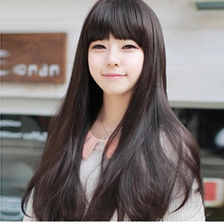 seductive black long straight hair wig bobo bangs stylish