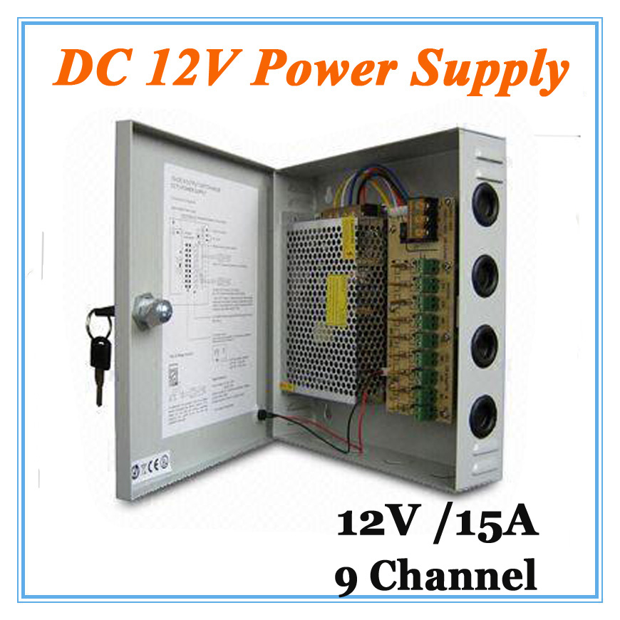 DC12V 15A 9 Channel Power Supply Adapter for CCTV Camera CCTV System 12V Security professional Converter Adapter 12v 5a 8ch power supply adapter work for cctv suveillance camera system dc 12v power supply 8 port dc pigtail coat