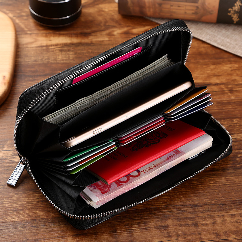 samplaner Card bags leather cowhide organ high-capacity long money multi-functional wallet id card id card sets of men and women