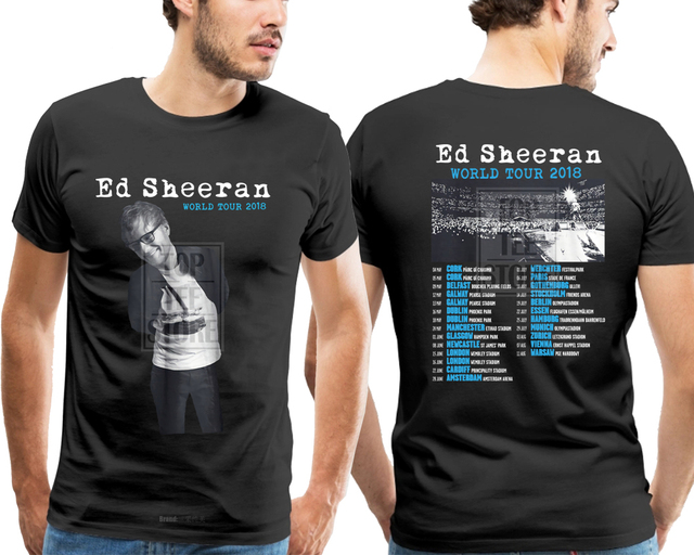 c518406acc3 New Ed Sheeran World Tour 2018 Men S Gildan Black T Shirt S 4Xl on ...