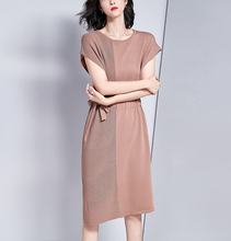 Spring and summer new style New Splicing lace dress Side drawstring waist slimming dress Medium long knit dress plus drawstring side solid tee dress