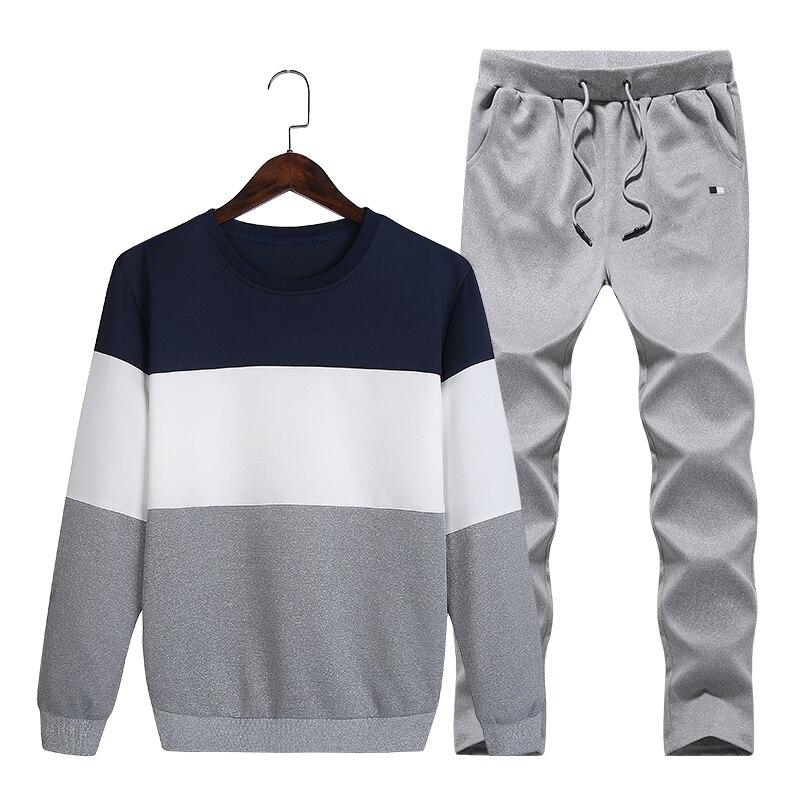 Tracksuit Men Set 2019 Autumn Casual Sportswear Patchwork Suits Men's Two Piece Sets Pullover Hoodies+Pants Sweatsuit Slim Male