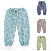 Pantalones del cabrito para 2-7 T niños niñas bragas largas con cuerdas verano Niño Pantalones de los niños a015 ropa de algodón a cuadros