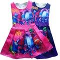 2017 Nuevos Vestidos de Niña de Princesa Bata de Impresión de Dibujos Animados Duendes Disfraces Adolescentes Vestido para el Partido y La Boda Niñas Vestido de Troll