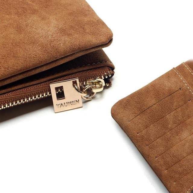 2020 New Fashion Women Wallets Drawstring Nubuck Leather Zipper Wallet Women's Long Design Purse Two Fold More Color Clutch 5