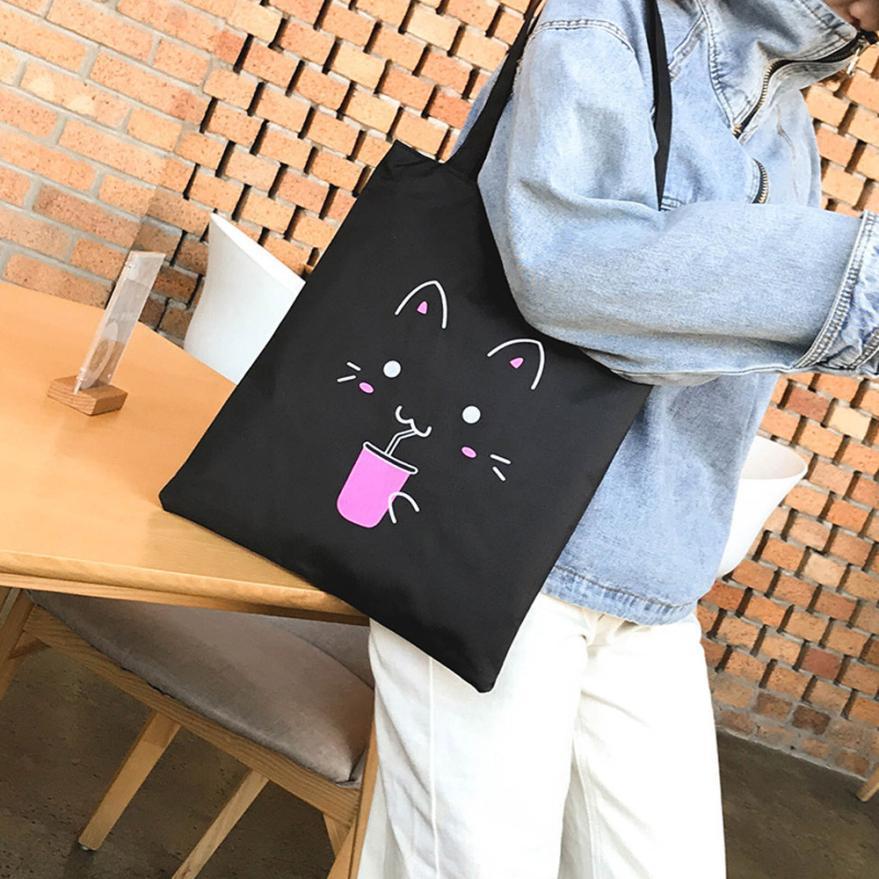 Cartoon Cats Printed Beach Zipper Bag Bolsa Feminina Canvas Tote Shopping Handbags Sac A Main Femme De Marque