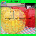 Yellow and red inflatable person ball for kids play interesting football